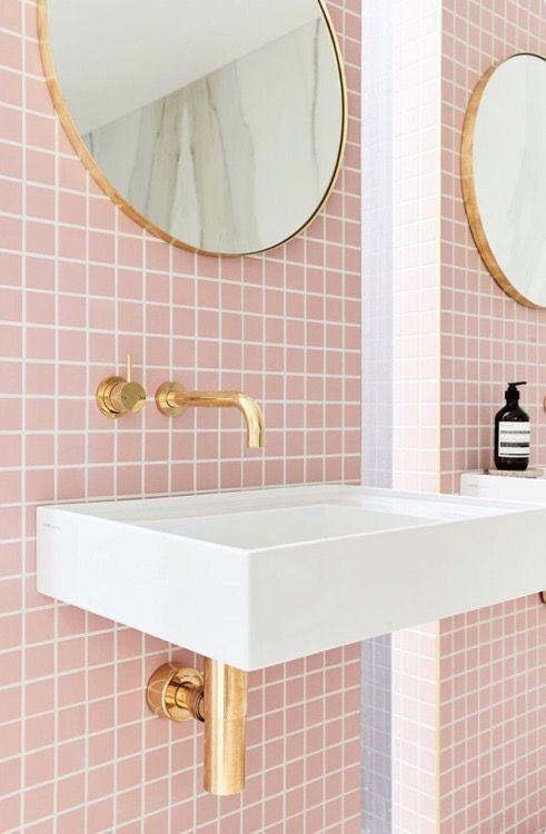pink square tile