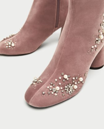 zara beadedvelvet boots