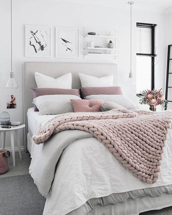 cosy pink blanket bedroom